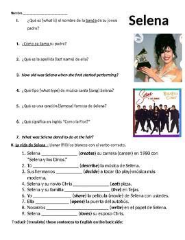 Selena movie guide and practice sentences