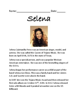 Selena - music star review article lesson life story - review questions
