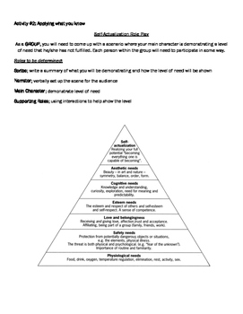 Self Actualization Role Play & Comprehension Questions