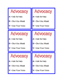 Self-Advocacy Cards