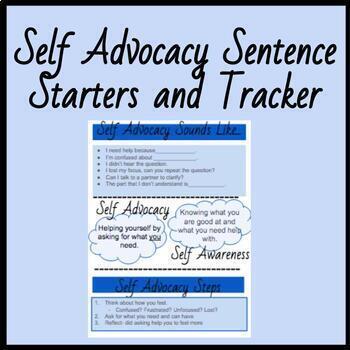 Self Advocacy Sentence Starters/ Tracker