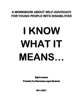 Self Advocacy Work Book for grades 3 to 8