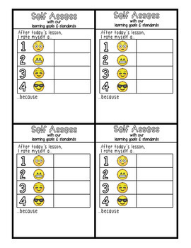 Self-Assess Emoji Card for Learning Goals and Standards
