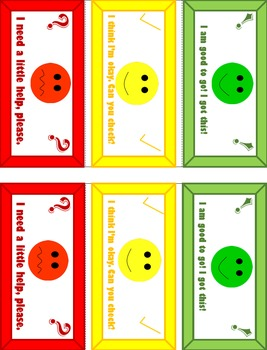 Self- Assess Student Table Tent Cards