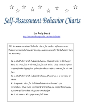 Self-Assessment Behavior Charts By Polly Hunt | Teachers Pay Teachers