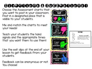 Self Assessment- Charts and Exit Slips!