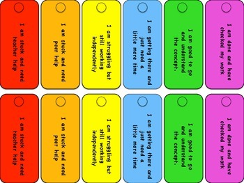 Self Assessment Colored Cards