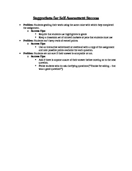 Self Assessment Honestly Contract and Helpful Suggestions for Success