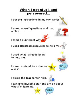 Self- Assessment, Perseverance and Growth Mindset Resource