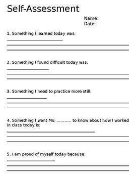 Self Assessment Sheet - Editable