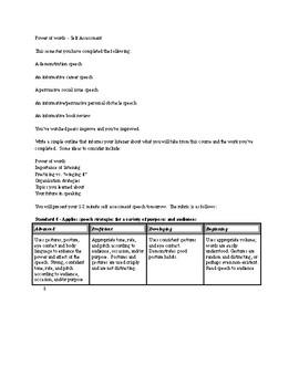Self Assessment - Speech
