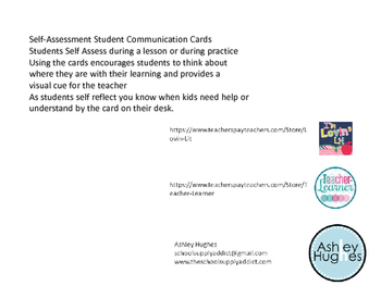 Self-Assessment Student Communication Cards
