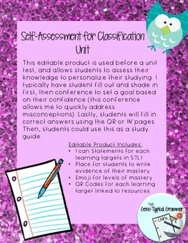 Self Assessment for Classification Unit