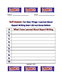 Self-Assessment for Research Report Writing - Aligned to W.5.2, W5.2a, W5.2b