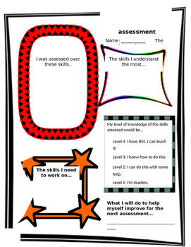 Self Assessment graphic organizer