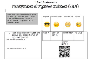 Self Assessments for Ecology Unit