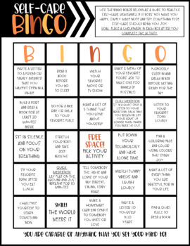 Self-Care BINGO Board