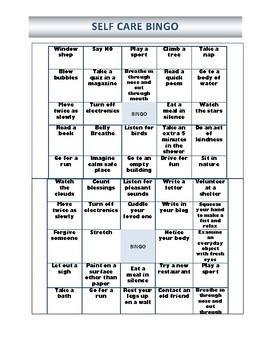Self-Care Bingo Sheets