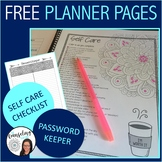 Teacher Planner Pages with Self Care Checklist and Password Keeper