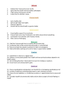 Self-Care Self-Assessment Workbook for Parents, Teachers, and Professionals
