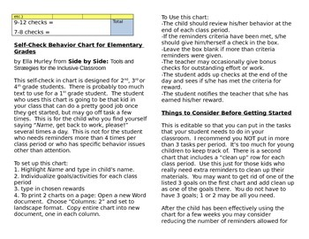 Self Management Behavior Chart for Elementary Grades