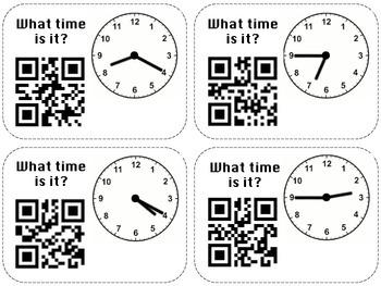 Self Check Clocks Flashcards: QR Codes
