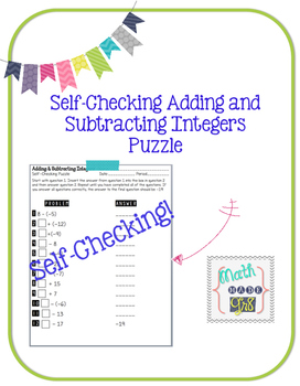 Self-Checking Adding and Subtracting Integers Puzzle