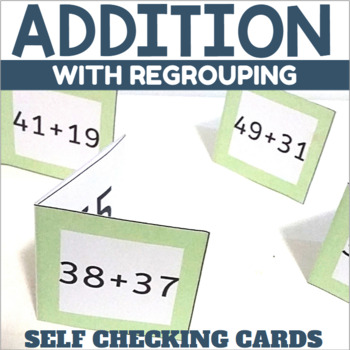 Self Checking Addition Cards Two Digit Addition with Regrouping