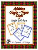 Self-Checking Addition ~ Sums under 200 ~ 100 Equation E-book Reader