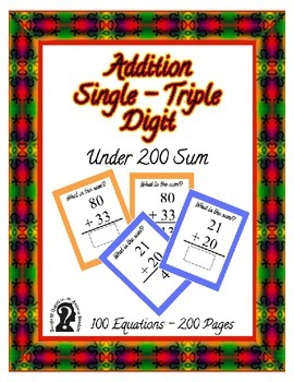 Self-Checking Addition ~ Sums under 200 ~ 100 Equation E-b