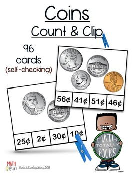 Self-Checking - COIN Value and Counting Change Clip Cards