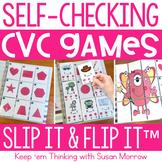 17 Self-Checking CVC Short Vowel Centers - Slip It and Flip It