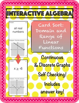 Self-Checking Card Sort: Domain and Range of Linear Functions Practice Worksheet