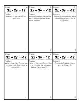 Self-Checking Card Sort: Writing Linear Equations in Standard Form Practice