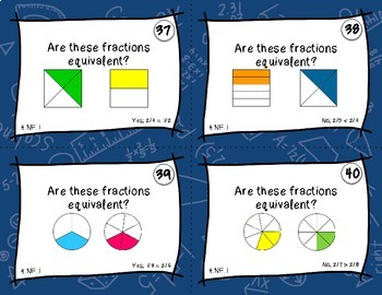 Equivalent Fractions Task Cards - Self-Checking & Common Core Aligned