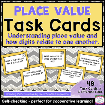Place Value Task Cards - Degrees of 10 - Self-Checking & C