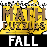 Self Checking Fall Math Puzzles