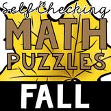 Self Checking Fall Math Puzzles