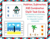 Self Checking Fluency to 5 Addition, Subtraction and COMBINATION Clip-It 3 GAMES