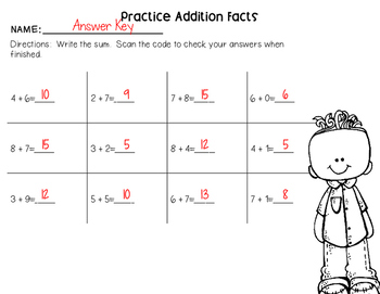 Self-Checking Math Printables Addition and Subtraction Strategies Edition