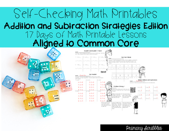 Self-Checking Math Printables Addition and Subtraction Str