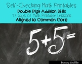 Self Checking Math Printables Double Digit Addition