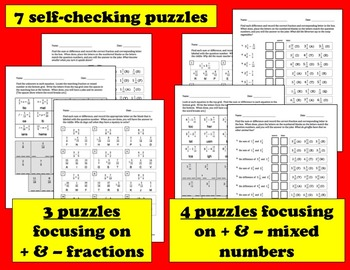 Self-Checking Math Riddles - adding and subtracting unlike denominators