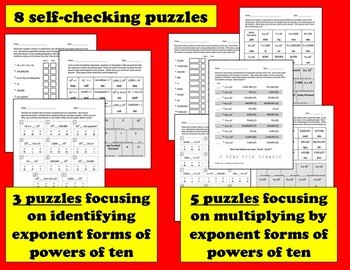 Self-Checking Math Riddles - representing & multiplying with powers of ten