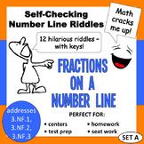 Self-Checking Number Line Riddles - Fractions on a Number Line (set a)