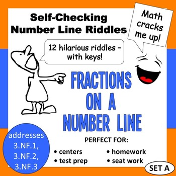 Self-Checking Number Line Riddles - Fractions on a Number