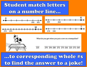 Self-Checking Number Line Riddles - Whole Numbers on a Number Line