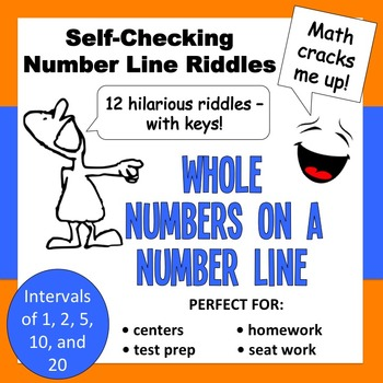 Self-Checking Number Line Riddles - Whole Numbers on a Num