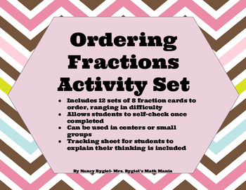Self Checking Ordering Fractions Math Station Set