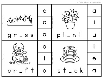 Self-Checking Short Vowel Clip Cards